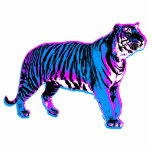 Corey Tiger 80s Retro Blue Tiger Photo Sculpture Badge