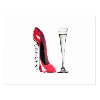 Corkscrew Stiletto Shoe and Champagne Flute Glass Postcard