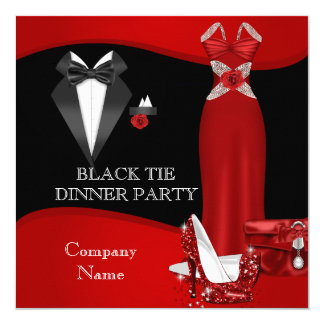 Corporate Formal Dinner Party Black Tie Red 3 13 Cm X 13 Cm Square Invitation Card