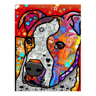 Cosmic Pit Bull - Bright Colorful - Gift Idea Postcard