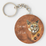 "Cougar Puma Mountain Lion ""Live and Let Live"" Basic Round Button Key Ring"