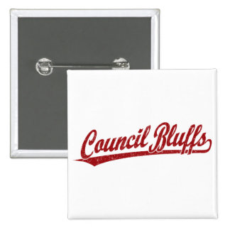 Council Bluffs script logo in red 15 Cm Square Badge
