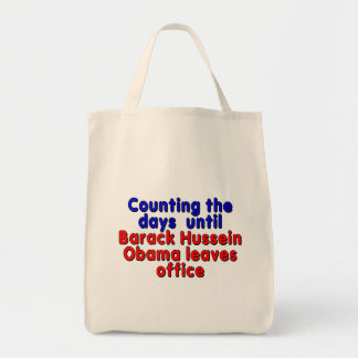 Counting the days until Barack Hussein Obama... Grocery Tote Bag