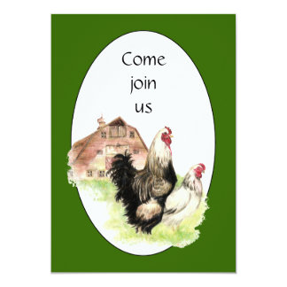 Country Chicken & Rooster Barn Custom Farm Invite