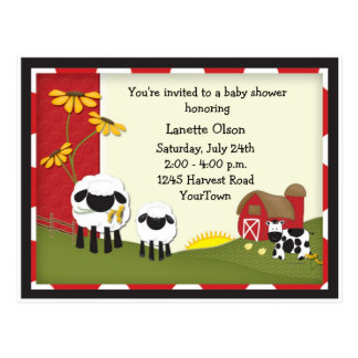 Country Farm Baby Shower Postcard Invitation