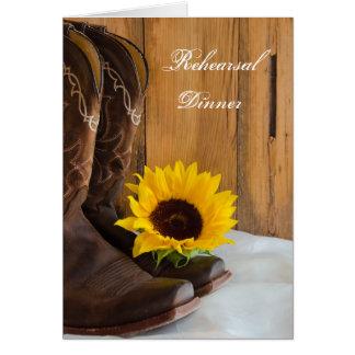 Country Sunflower Wedding Rehearsal Dinner Invite Greeting Card