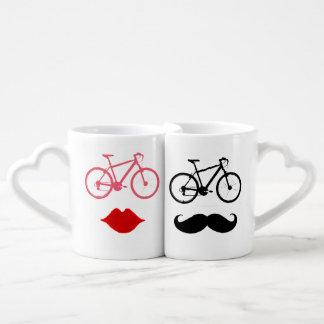 couple bikers lips & moustache lovers mug