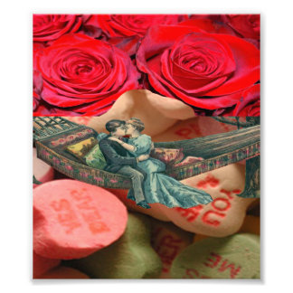 Couple Kiss Hammock Rose Sweethearts Candy Collage Photo Art