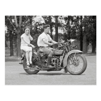 Couple Riding Motorcyle, 1928 Postcard