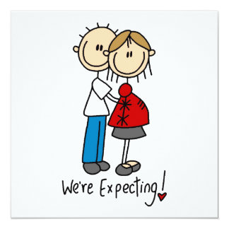Couple We're Expecting T-shirts and Gifts 13 Cm X 13 Cm Square Invitation Card