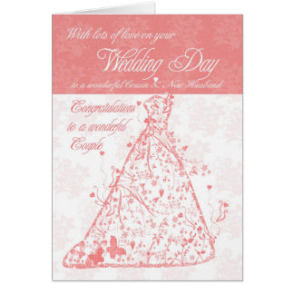 Cousin & New Husband wedding day congratulations Greeting Card