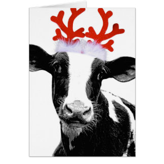 Cow with Reindeer Antlers Greeting Card