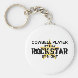 Cowbell Player Rock Star by Night Basic Round Button Key Ring