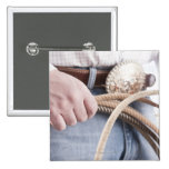 Cowboy holding a rope 15 cm square badge