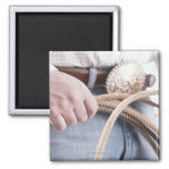 Cowboy holding a rope square magnet