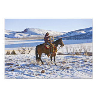 Cowboy riding a horse on the range on The Photographic Print