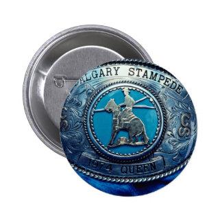Cowboy rodeo trophy buckle, Alberta, Canada 6 Cm Round Badge