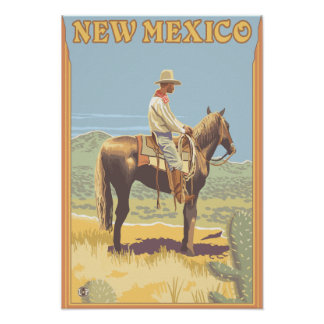 Cowboy (Side View)New Mexico Poster