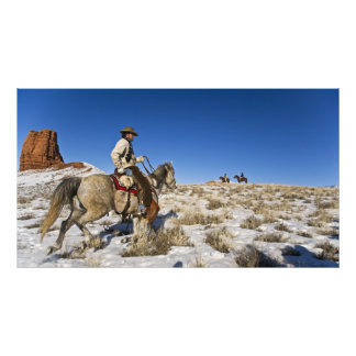 Cowboy with horses on the range on The Hideout Photographic Print