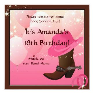 Cowgirl Birthday Party Boot Scottin Custom 13 Cm X 13 Cm Square Invitation Card