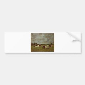 Cows in a Meadow, Morning Effect by Eugene Boudin Bumper Sticker