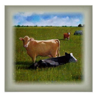 Cows in Pasture: Summer Farm Scene: Pastel Art Poster