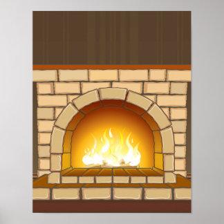 Cozy Fireplace Illustration Poster