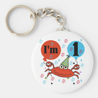 Crab 1st Birthday Tshirts and Gfits Basic Round Button Key Ring