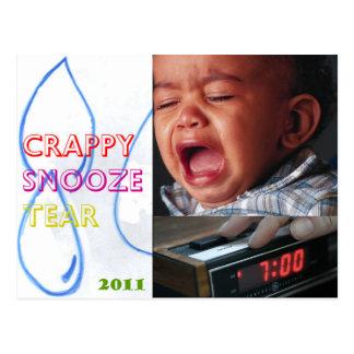 crappy snooze tear postcard