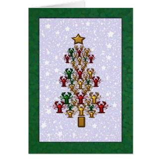 Crawfish Lobster Christmas Tree Stars (green) Greeting Card