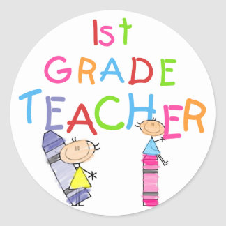 Crayons 1st Grade Teacher Tshirts and Gifts Round Sticker