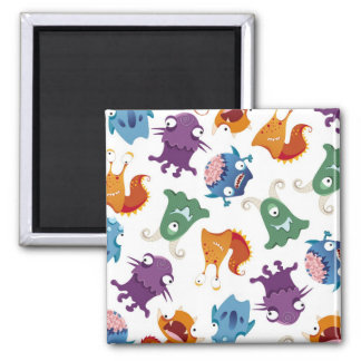 Crazy Monsters Fun Colorful Patterns for Kids Square Magnet