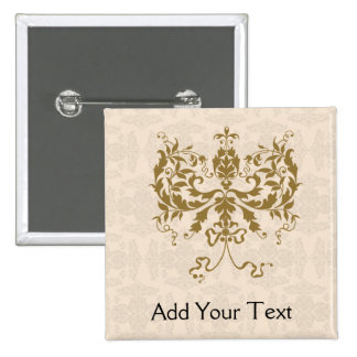 Cream and Gold Damask 15 Cm Square Badge