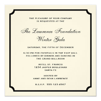 Cream black square frame corporate holiday formal 13 cm x 13 cm square invitation card