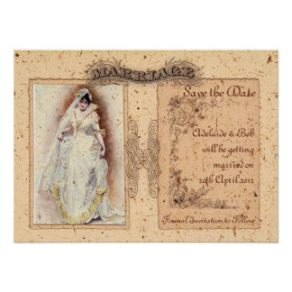 Cream Victoriana Save the Date Poster