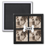 Create Your Own 4 Photo Instagram Pet Dog Square Magnet