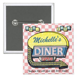 Create Your Own Custom Retro 50's Diner Sign 15 Cm Square Badge
