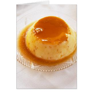 Creme caramel type of pudding with caramel greeting card