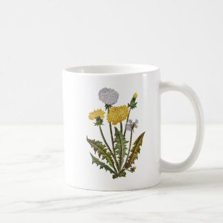 Crewel Embroidered Golden Dandy Lions Basic White Mug