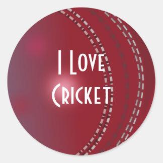 """Cricket: """"I Love Cricket"""" Round Sticker"""