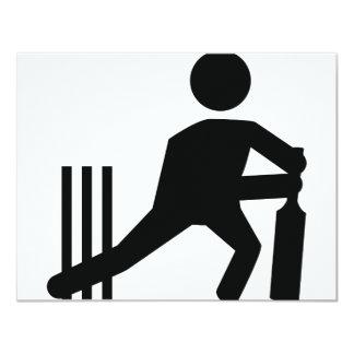 cricket icon 11 cm x 14 cm invitation card