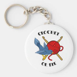Crochet or Die Tattoo Basic Round Button Key Ring