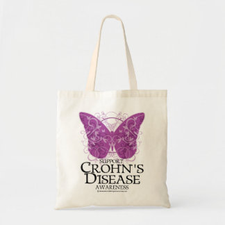 Crohn's Disease Butterfly Budget Tote Bag