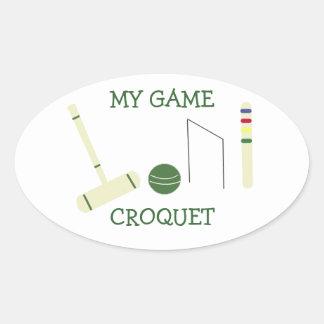 Croquet My Game Oval Sticker