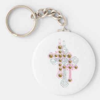 cross basic round button key ring