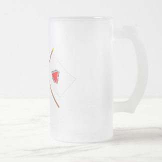 Crossed Flags of Brazil and Minas Gerais Frosted Glass Mug