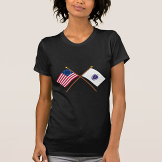 Crossed US 13-star and Massachusetts State Flags Tee Shirts