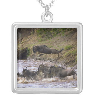 Crossing of the Mara River by Zebras and Square Pendant Necklace