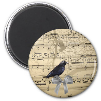 Crow on a music sheet 6 cm round magnet