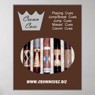 Crown Cues Poster with pool cues